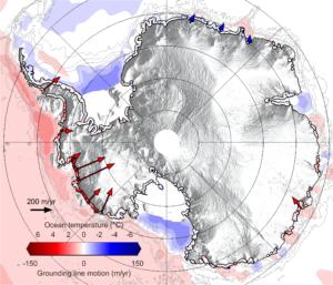Antarctique: les flèches rouges montrent le décollement des glaciers de leur base
