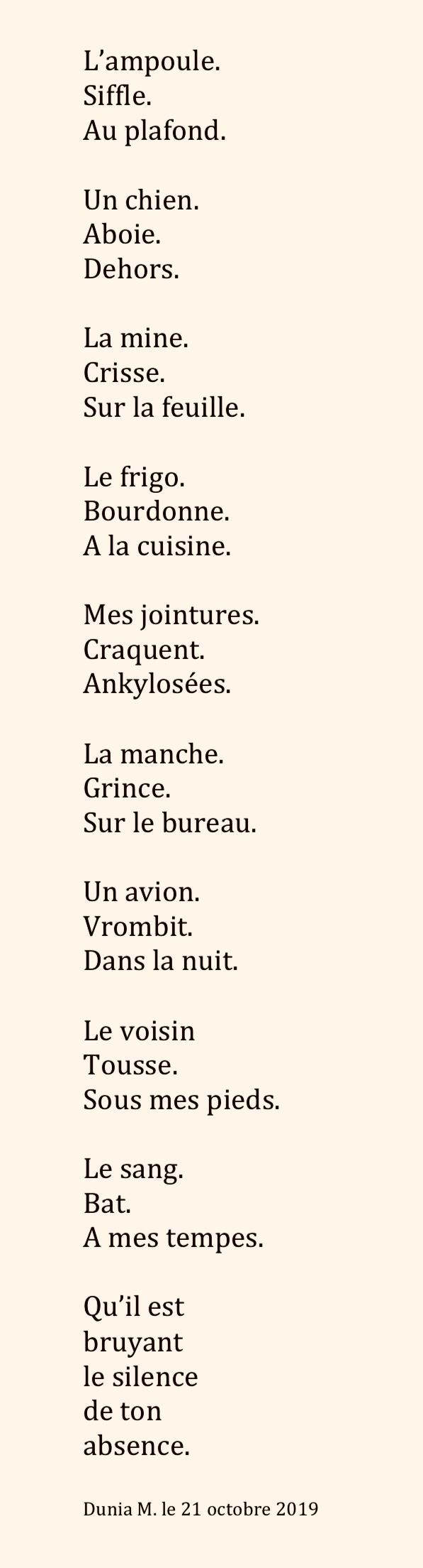 Poème Le Bruit De Labsence Des Avenues Et Des Fleurs