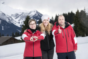 Fanny Smith, Ivo et Océane photographié pour les national winter games de Villars en 2020
