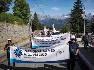 La Fondation la Branche à Mollie-Margot lors du cortège du 1er août à Villars sous les bannière des National Winter Games