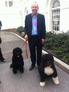 """Avec Sunny à gauche et Bo à droite, les """"premiers chiens"""" d'Amérique"""