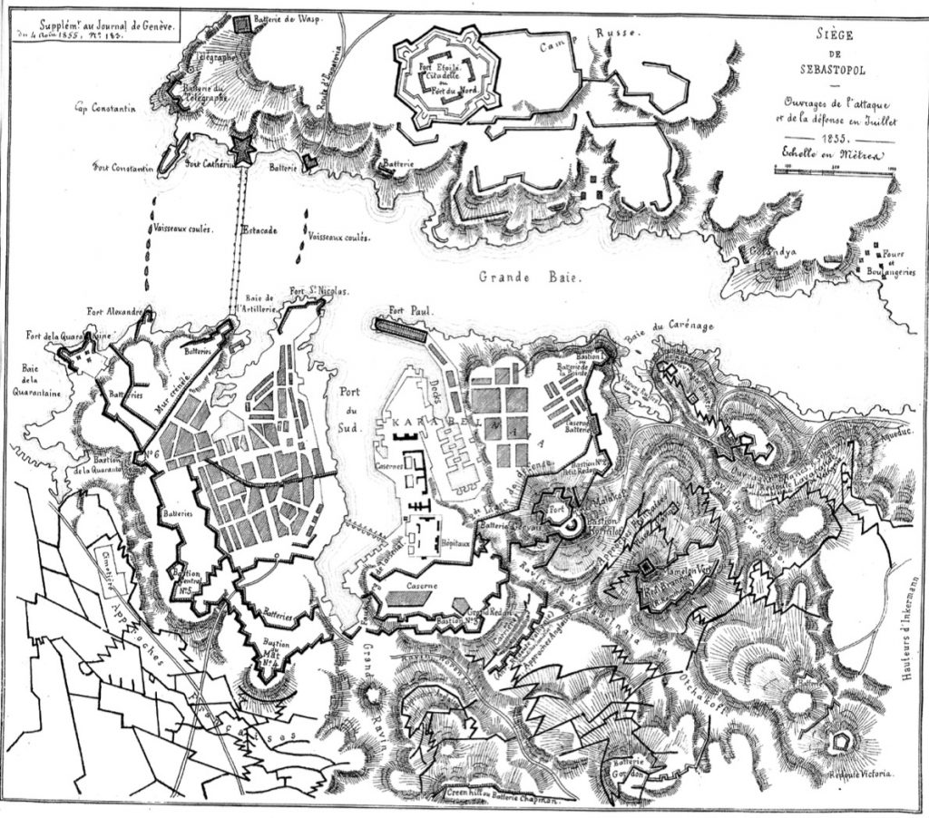 Le Journal de Genève, en 1855, explique en carte le siège de la ville de Sébastopol, un des moments clés de la guerre de Crimée