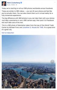 Mark Zuckerberg annonce le lancement de Facebook 360