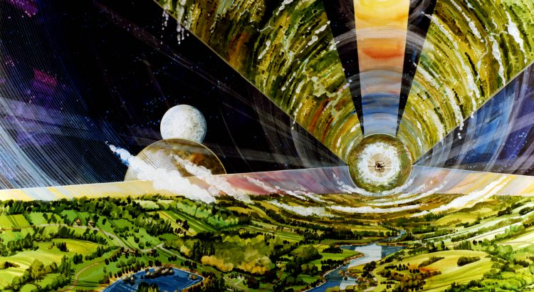 """Astronomer Chris Impey examines the possibilities of the universe in his new bookBeyond. """"I like the idea that the universe — the boundless possibility of 20 billion habitable worlds — has led to things that we can barely imagine,"""" he says. In the 1970s, NASA Ames conducted severalspace colony studies, commissioning renderings of the giantspacecraft which could house entire"""