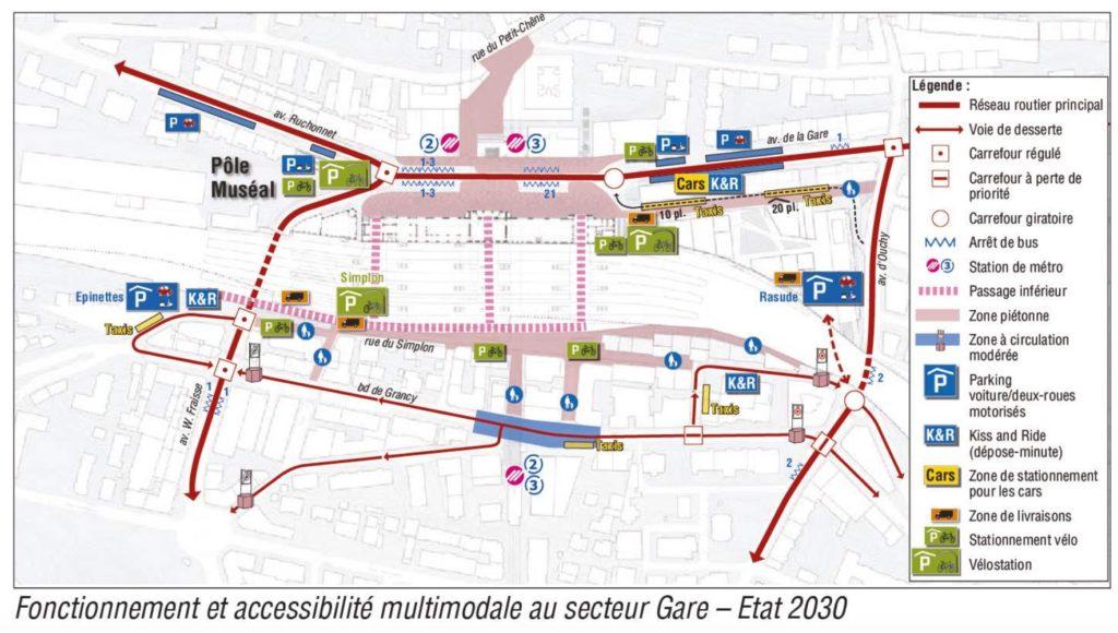 Prévision place de la gare de Lausanne 2030