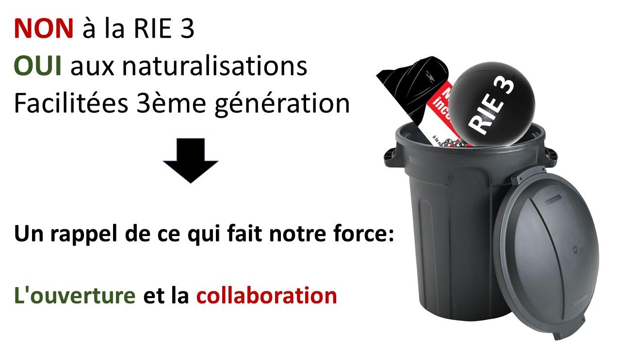 RIE 3 et Naturalisations: la victoire du travail ensemble