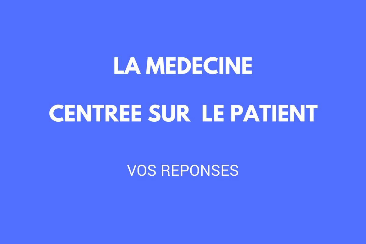 La médecine centrée sur le patient: vos réponses