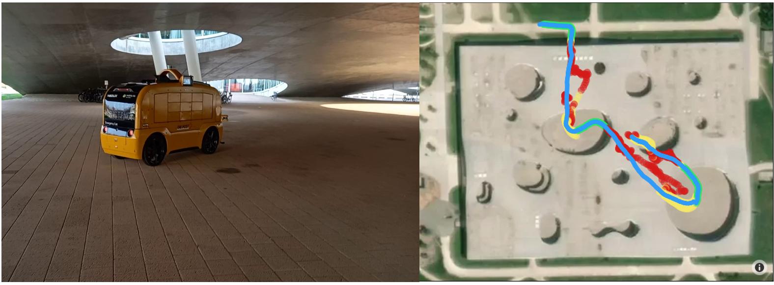 La navette automatique sous le Rolex Learning Center / Le tracé détaillé sous le bâtiment