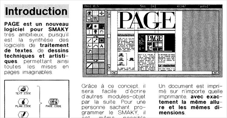 Le magazine Smaky Info de décembre 1989 annonce le logiciel Page, de Daniel Roux